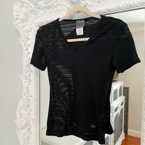 AUTHENTIC Versace Logo Sheer Short Sleeve Top